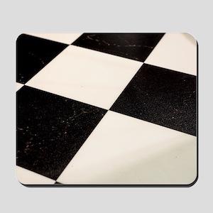 Black & White Checkered Floor Mousepad