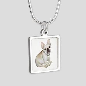 French Bulldog (#2) Silver Square Necklaces
