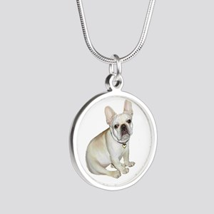 French Bulldog (#2) Silver Round Necklaces