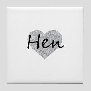 hen silver glitter heart Tile Coaster