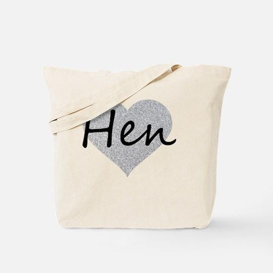 hen silver glitter heart Tote Bag