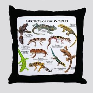 Geckos of the World Throw Pillow
