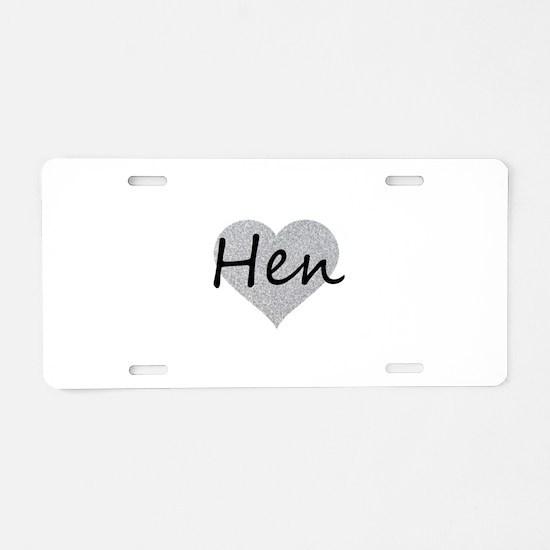 hen silver glitter heart Aluminum License Plate