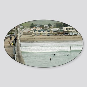 Cayucos Pier View Sticker (Oval)
