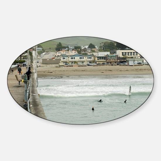 Cayucos Pier View Sticker (Oval)