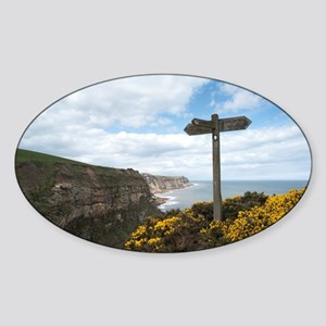 Signpost on the Cleveland Way Sticker (Oval)