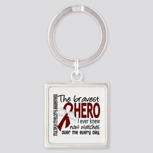 Multiple Myeloma Bravest Hero Square Keychain