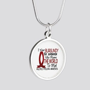 Multiple Myeloma Means World Silver Round Necklace