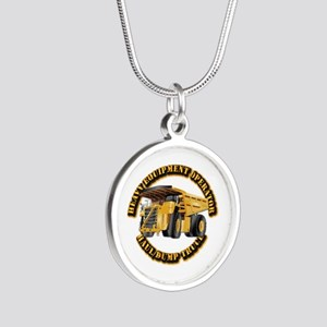 Heavy Equipment Operator - D Silver Round Necklace