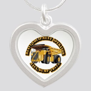 Heavy Equipment Operator - D Silver Heart Necklace