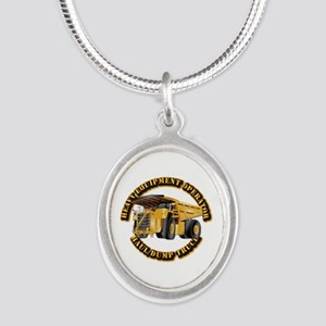 Heavy Equipment Operator - Du Silver Oval Necklace