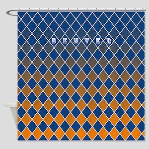 Denver Blue and Orange Shower Curtain