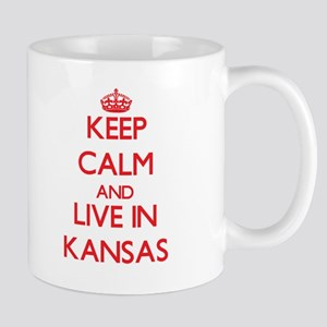 Keep Calm and live in Kansas Mugs