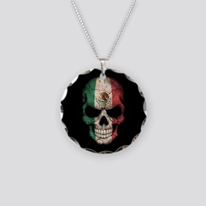 Mexican Flag Skull on Black Necklace Circle Charm