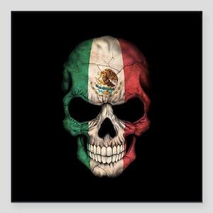 "Mexican Flag Skull on Black Square Car Magnet 3"" x"