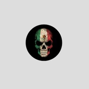 Mexican Flag Skull on Black Mini Button