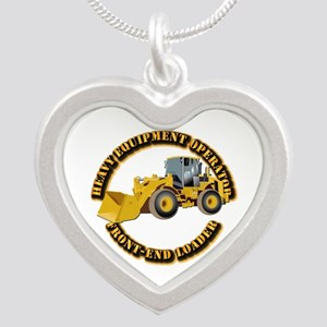 Hvy Equipment Operator - Fro Silver Heart Necklace