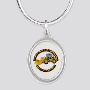 Hvy Equipment Operator - Fron Silver Oval Necklace