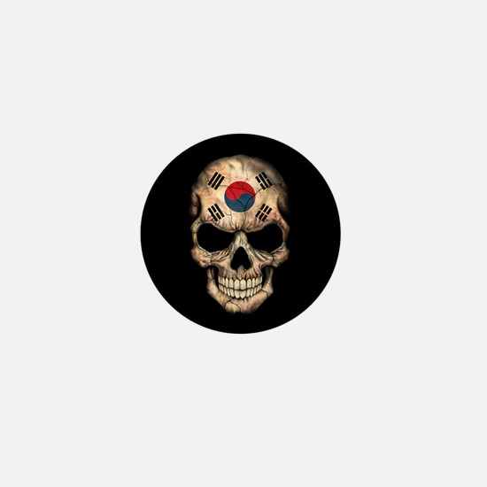 South Korean Flag Skull on Black Mini Button