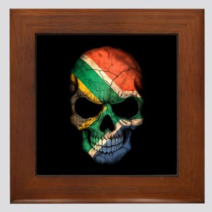 South African Flag Skull on Black Framed Tile