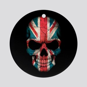 British Flag Skull on Black Ornament (Round)