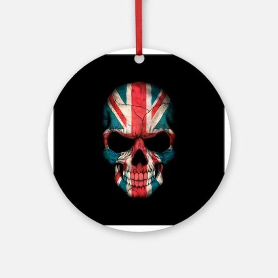 British Flag Skull on Black Ornament (Round)