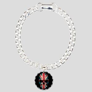 British Flag Skull on Black Charm Bracelet, One Ch