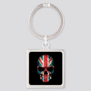 British Flag Skull on Black Keychains