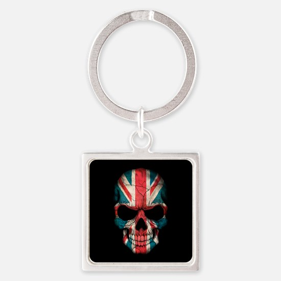British Flag Skull on Black Keychains