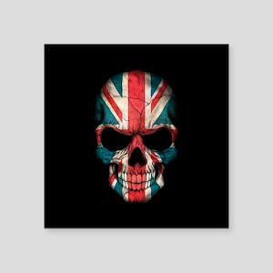 British Flag Skull on Black Sticker