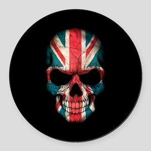 British Flag Skull on Black Round Car Magnet