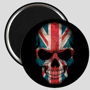 British Flag Skull on Black Magnets