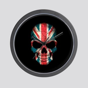 British Flag Skull on Black Wall Clock