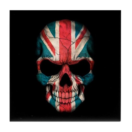 british flag skull on black tile coaster by uniqueflagdesigns