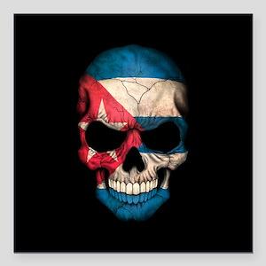 "Cuban Flag Skull on Black Square Car Magnet 3"" x 3"