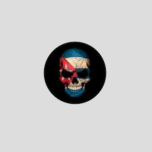 Cuban Flag Skull on Black Mini Button