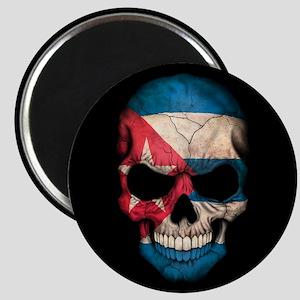 Cuban Flag Skull on Black Magnets