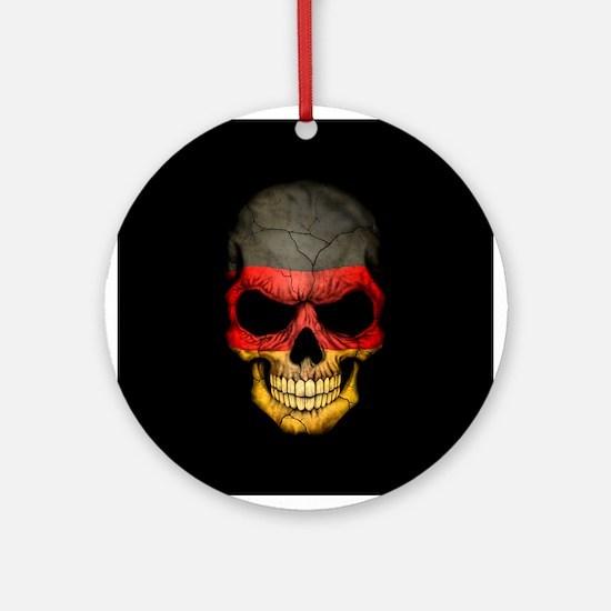 German Flag Skull on Black Ornament (Round)