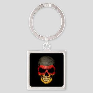 German Flag Skull on Black Keychains