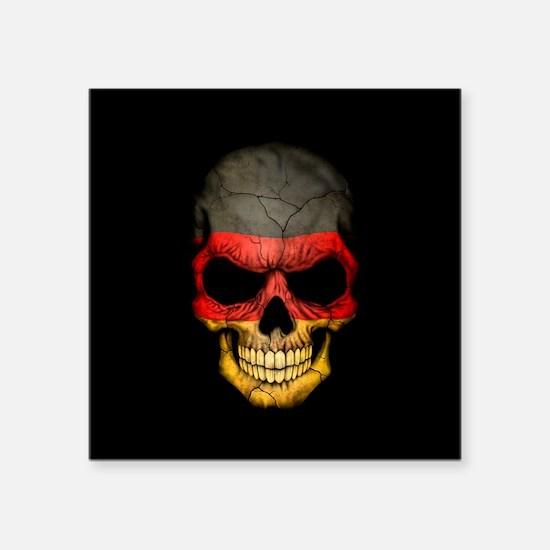 German Flag Skull on Black Sticker