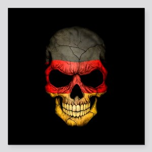 "German Flag Skull on Black Square Car Magnet 3"" x"