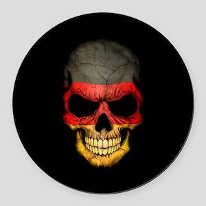 German Flag Skull on Black Round Car Magnet