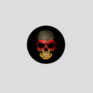 German Flag Skull on Black Mini Button