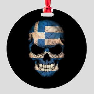 Greek Flag Skull on Black Round Ornament