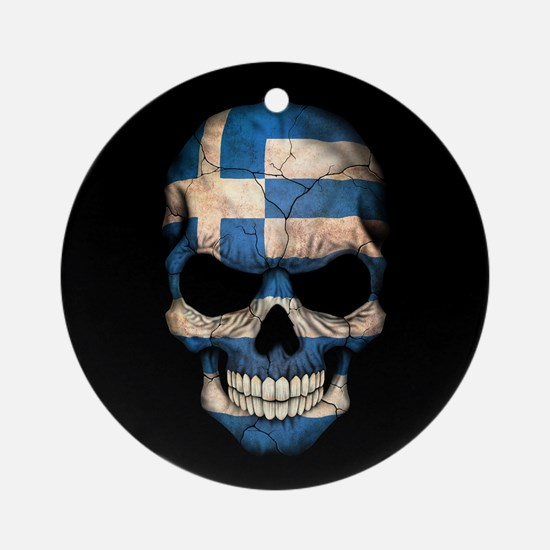 Greek Flag Skull on Black Ornament (Round)