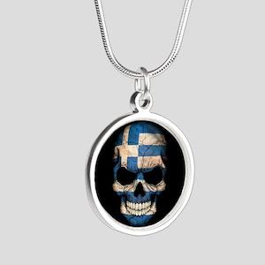 Greek Flag Skull on Black Necklaces