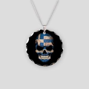Greek Flag Skull on Black Necklace Circle Charm