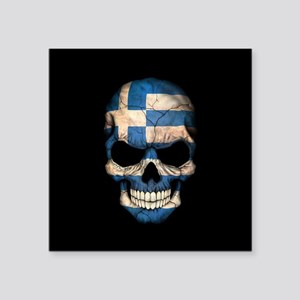 Greek Flag Skull on Black Sticker
