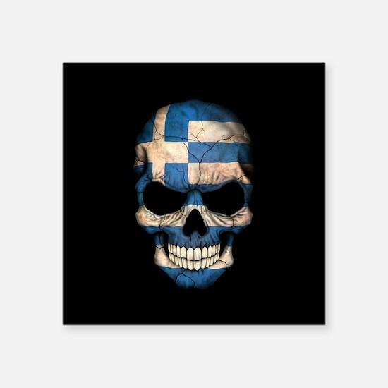 Greek Flag Skull on Black Sticker
