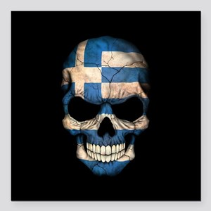 "Greek Flag Skull on Black Square Car Magnet 3"" x 3"